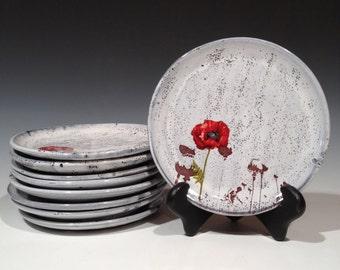 Poppy Plate with layered glaze or white glaze - salad plate