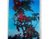 Mountain Ash berries glass cutting board -ash berries - ash trivet - wedding gift - glass berries - tree gift