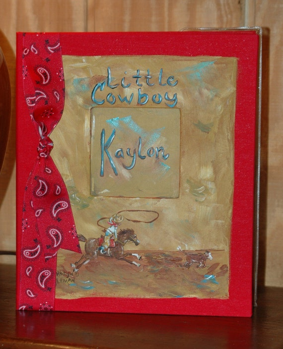 Little Calf Roper Baby Memory Book with Red Cover