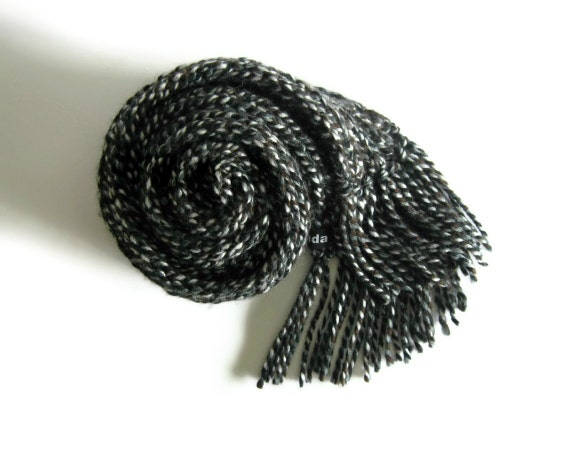 Black Tweed Scarf Knitted in Soft Wool Blend