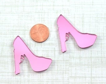 PINK TRIGGER HEELS - 2 Pieces - In Pink Mirror Laser Cut Acrylic