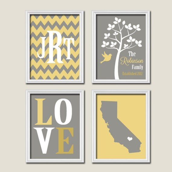 Yellow Black And Gray Wall Decor : Yellow gray family tree custom wall art canvas by trmdesign