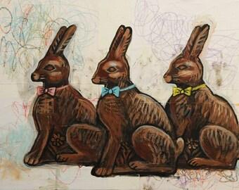 Chocolate Rabbits - Original Painting