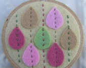 Embroidered Wall Art - It's Raining Petals - Sweet Pink Green and Tan Felt Flower Petals