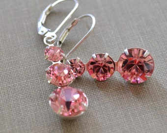 Pink Swarovski Earrings, Chandelier Sterling Silver, Pink Crystal Lever Back Earrings, Bridesmaids Earrings