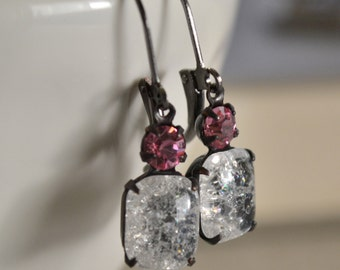 Pink and Clear Crackle Glass Estate Earrings, Lever Back Gunmetal, Vintage Rhinestone Earrings, Bridesmaids