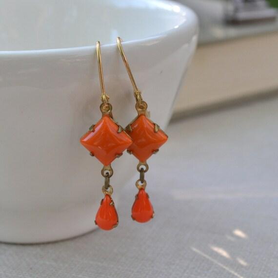Orange Estate Glass Earrings, Vintage Glass Rhinestone Earrings, Orange Tangerine Brass Lever Back Earrings