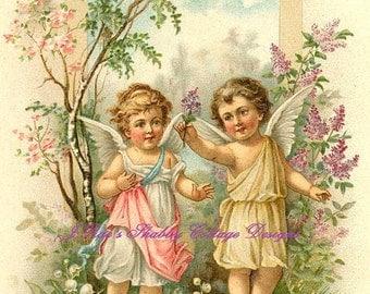 Beautiful Vintage Print Angels Cherubs & Flowers Fabric Block 5x7 Inch