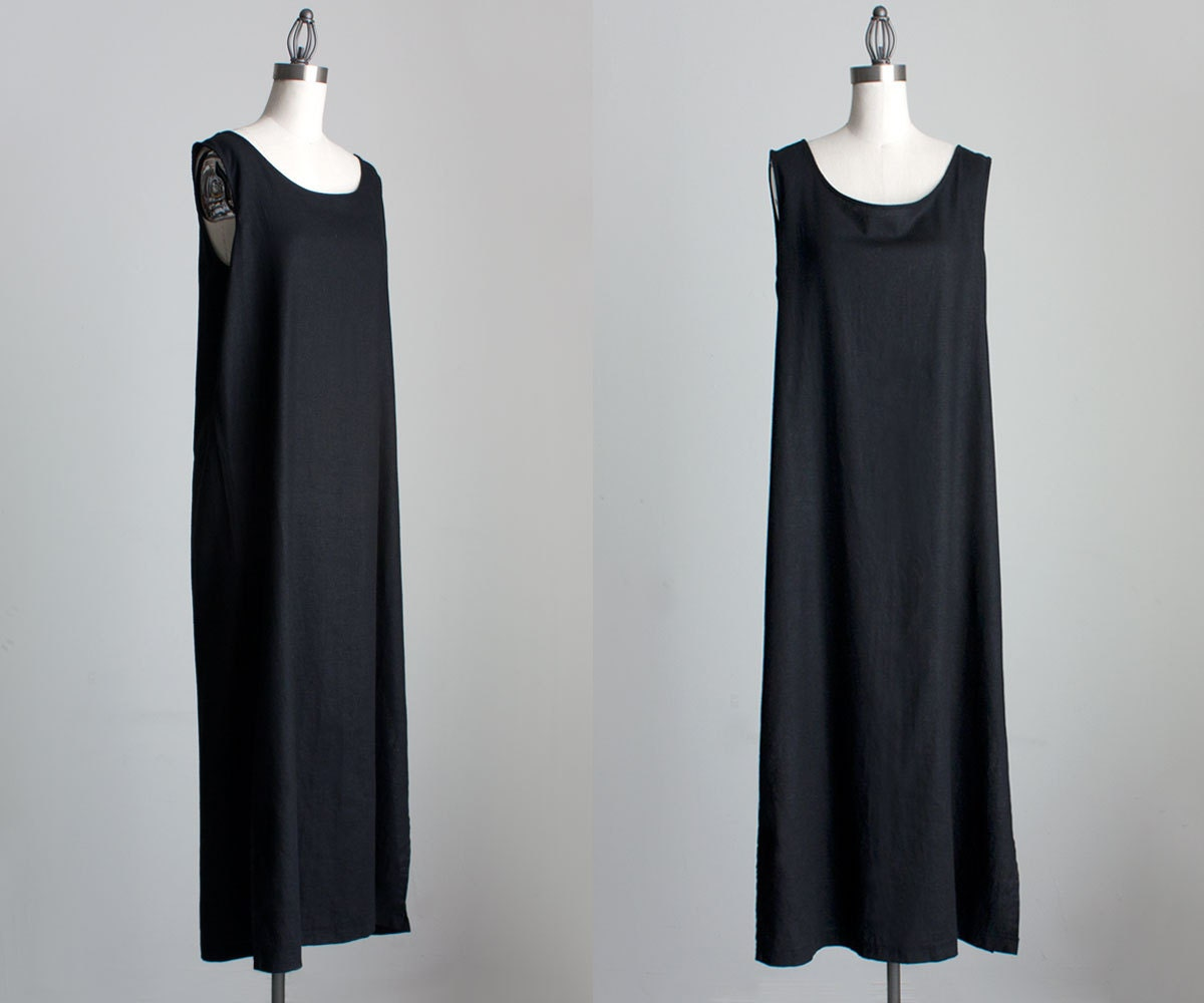 Linen Maxi Dress 1990s Vintage Black Linen Minimalist Tunic