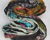 Recycled Multi color Chiffon silk sari ribbon