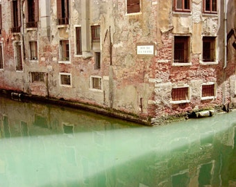 Venice Italy travel photography old brick architecture window art jade mint green wall art 'Illuminated Venice'