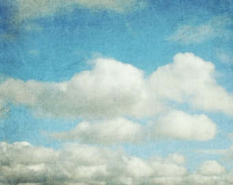 Cloud photography pale blue sky nature wall art print nursery decor 'Cloud Nine'