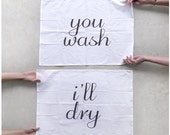 Tea(m) Towels - set of 2 extra large tea towels - fair trade organic cotton - eco-friendly wedding gift / housewarming gift - kitchen towels - blackbirdtees