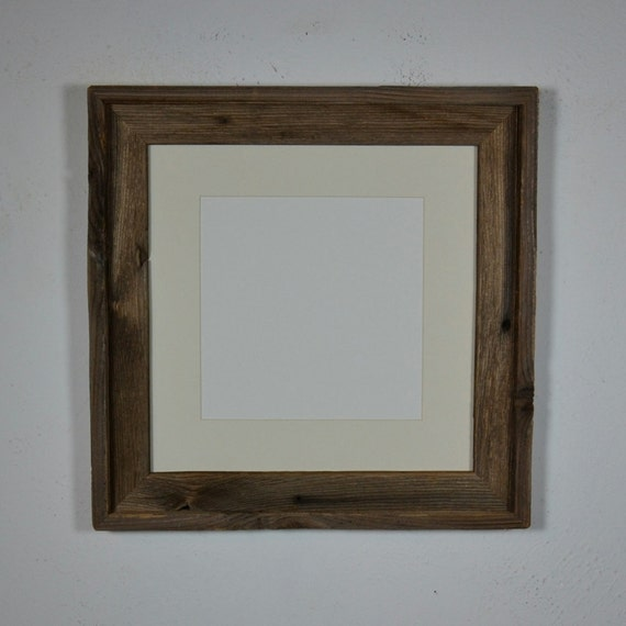 12x12 Eco Chic Barnwood Brown Frame With 8x8 Off White Mat