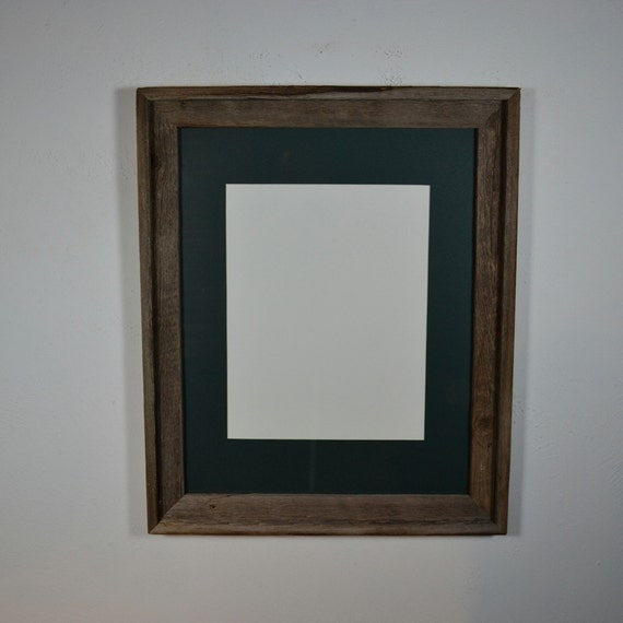 16x20 Barn Wood Picture Frame Green Mat For 11x14 By