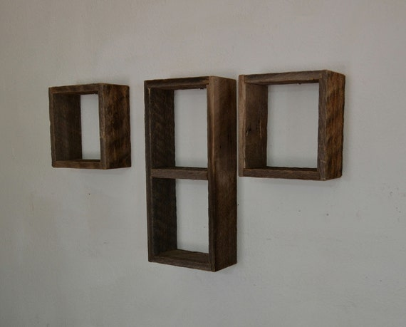 Reclaimed Wood Shadow Boxes Wall Shelves Set Of 3 By
