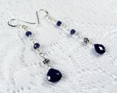 Sapphire Drop Earrings - Sapphire Drops and Sterling Silver Gemstone Chain Earrings, September Birthstone (E0488) - SALE 40% OFF