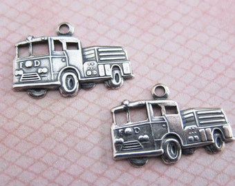 2 Silver Fire Truck Charms 3181