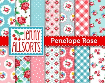 Shabby Chic Digital Paper Penelope Rose - Pink and Aqua  - for invites, card making, digital scrapbooking
