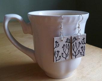 Berries and Leaves Bookboard Earrings - OOAK Upcycled Earth Friendly Jewelry