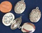 Wholesale 50 pcs of Silver plated filigree Oval Locket Pendant 24x16mm