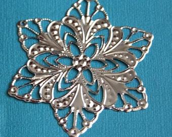 10 pcs of Platinum color plated filigree flower wrap 60mm