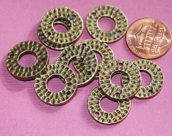 10 pcs of antiqued brass donut connector 17mm