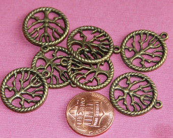 Bulk 100 pcs of Antiqued Brass tree in a circle pendant 22x19mm