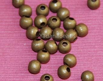 100 pcs of Anitque brass round brush beads 4mm