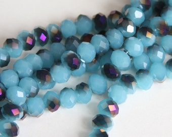16 inch Strand of electro plated glass faceted rondelle beads 5X8mm Blue/Purple