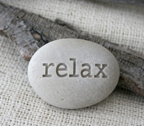 Relax Engraved Inspirational Word On Stone Ready Gift