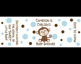 120 Personalized Baby Shower Mini Candy Bar Labels -  Little Monkey - Blue