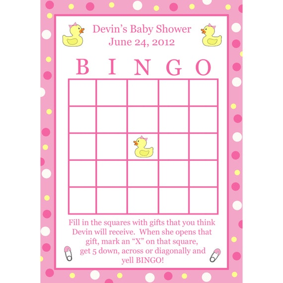 24 Personalized Baby Shower Bingo Cards PINK by partyplace: etsy.com/listing/152468272/24-personalized-baby-shower-bingo-cards
