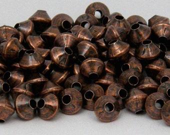 100 - 4.8mm BICONE Bead Oxidized Copper