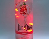 Lighted Bottle, Three Olives Cherry Vodka Bottle