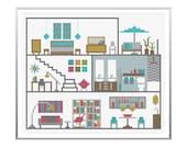 Modern Cross Stitch - Little Retro House Cross Stitch Pattern by Tiny Modernist