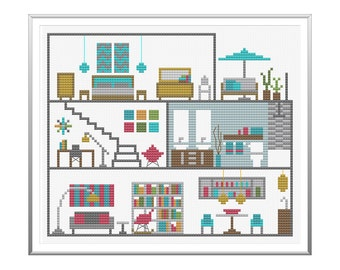 Modern Dollhouse Cross Stitch Pattern Instant Download