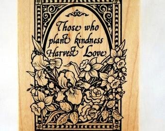 Vintage Rubber Stamp in Mint Condition - PSX Rubber Stamp - Plant Kindness, Harvest Love - Botanical Stamp, Garden Stamp