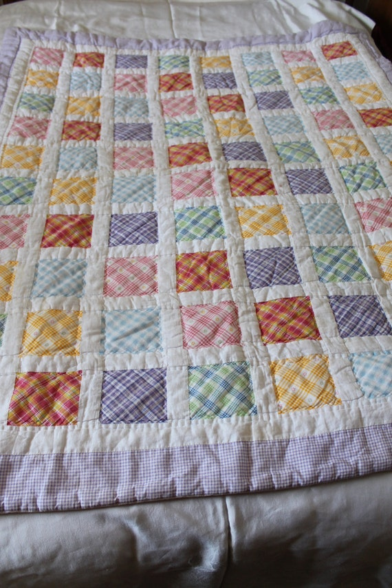 Plaid Baby Quilt: Vintage BABY Or LAP Finished Quilt Gingham Plaid Floral