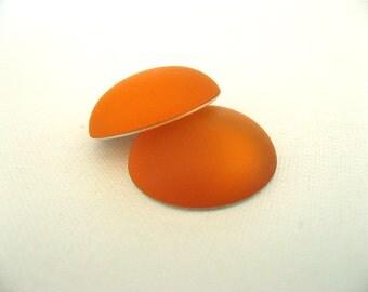 2 Matte Mango Orange Lunasoft Lucite Cabochons Round 18mm