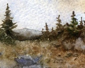 "An ACEO print of my original watercolor landscape ""Highland Scenic Highway"" route 55 W.VA."