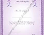 Border 8 Reiki Certificate Template - Portrait Oriented