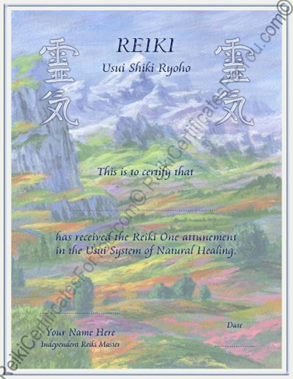 pin reiki certificate printable - photo #49