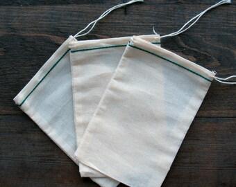 100 4x6 inch Cotton Muslin Green Hem all natural Drawstring Bags