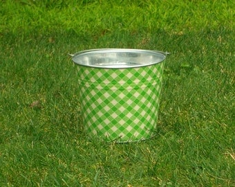 Kiwi Green and White White Picnic Gingham Fabric Covered Galvanized Pail