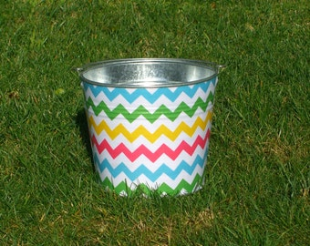 Spring Rainbow Chevron Fabric Covered Galvanized Easter Pail