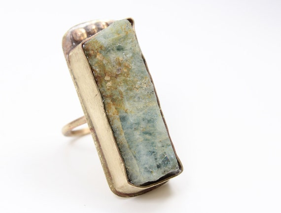 aquamarine raw gemstone brass fashion ring size 6.50