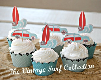 The Vintage Surf Collection - Custom Cupcake Toppers and Their Wraps from Mary Had a Little Party