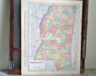antique double sided map Mississippi and Alabama 1899