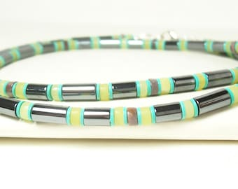 Men's Necklace, Unisex Necklace, Snakelike Effect. Yellow Necklace, Black/Grey Necklace, Brown and Turquoise Color Tone with Sterling Silver